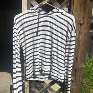 Forever 21 striped white and navy blue hoodie